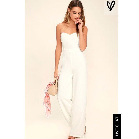 5c57fc5a443 Lulu s Pants - Lulus Pop Life White Strapless Jumpsuit
